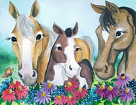 3 horses and flowers