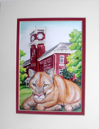 matted print of cougar and clock tower