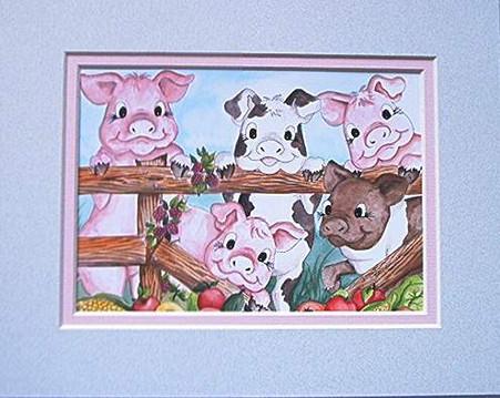 pigs garden print