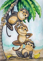 3 monkeys  card