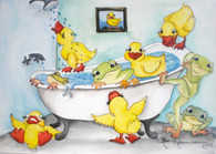 frog and duck bathtub notecard  designs by Lisa Rasmussen cute frogs and ducks playing
