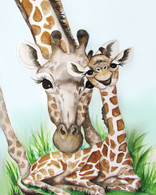 giraffe mom and baby card