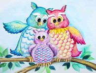 Family of 3 owls