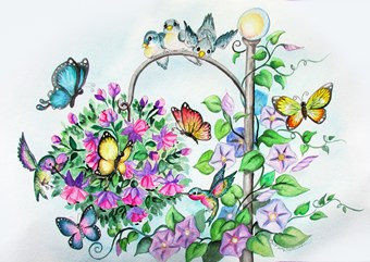 birds and butterfly bouquet