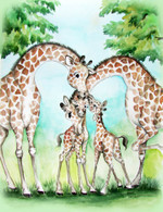 giraffe love with two