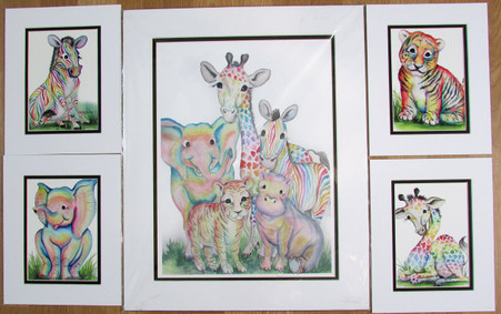 Set of rainbow animal prints  one 16x20 and 4   8x10 prints