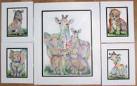 Set of rainbow animal prints  one 16x20 and 4   8x10 prints