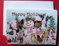 Happy Holidays snowman with animals