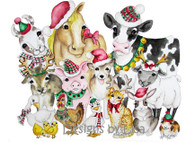 Farm animals with winter cheer cards 12 per pkg