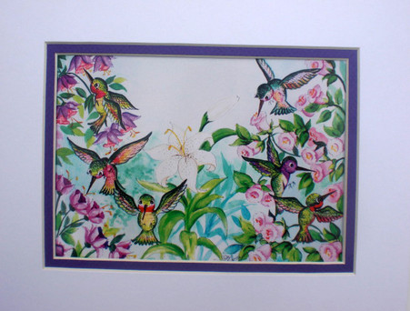 bright hummingbirds print matted