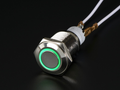 Rugged Metal Pushbutton with Green LED Ring - 16mm Green Momentary