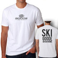 "Fitted T-Shirt White with Black ""Ski Goode or Go Home"""