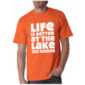 "T-Shirt Orange with White"" Life is Better at the Lake SKI GOODE"""