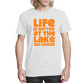 "T-Shirt White with Orange ""Life is Better at the Lake SKI GOODE"""