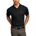 Ogio Poly Polo Zippered Chest Pocket Black with Orange Circle G Logo
