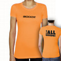 "Fitted Womens T-Shirt Orange with Black ""It's All Goode"""