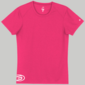 Womens Poly Sport T-Shirt Pink & White GOODE logo