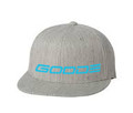 GOODE Unisex Flexfit 6 Panel Flat Bill Hat Gray/Teal Embroidered GOODE Logo