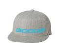 GOODE Unisex Flexfit 6 Panel Flat Bill Hat Gray/Teal Embroidered GOODE Logo