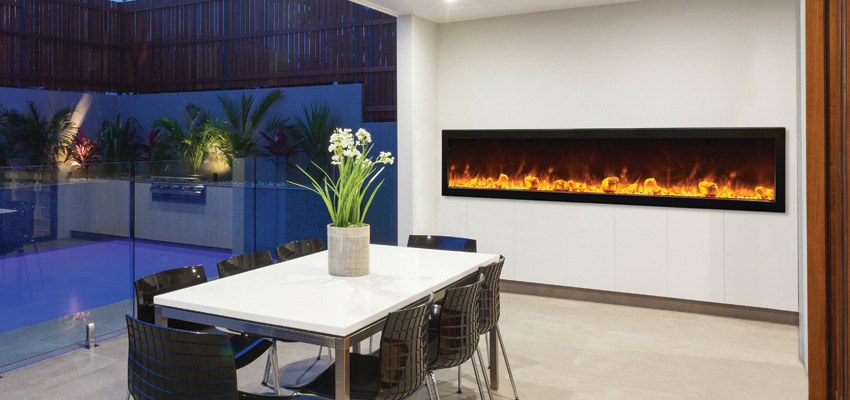 Amantii outdoor electric fireplace 88 inches wide