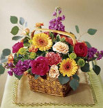 This brightly colored bouquet arrives in a basket and will fill any room with color. Arrangement includes peach spray roses, hot pink ranunculus, orange mini gerbera daisies, purple Stock and more.