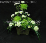 A rustic ceramic or wooden planter hold a gorgeous mix of green and white flowers, revert mums, green carnations, green lily grass and white button mums.