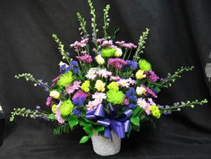 A dramatic tribute with a mix of Larkspur or Sapdragons, green Fuji mums, purple Chrysanthemums, Roses and blue Statice.