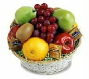 Fresh fruit and goodies. We use the freshest fruit we can find on the day we deliver the gift.