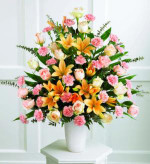 This splendid and formal  arrangement includes 18 peach roses, 24 pink carnations and peach Asiatic lilies with baby blue eucalyptus. All are arranged in a simple  white container.