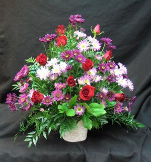 Burgundy and red tones make a rich tribute. Roses and assorted mauve and purple chrysanthemeums make a lovely jewel toned display.We deliver daily to all funeral home in the Toronto area.