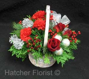 Silver and Red basket of beautiful flowers. Send your love and well wishes in a basket which would look lovely on any Christmas table or fireplace. Celebrate the holidays with flowers!
