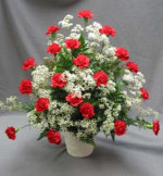 A tribute consisting of Carnations and Million Starr Gypsophilia. You may select mixed colours for your Carnations or choose one colour as in the one pictured with all red Carnations.