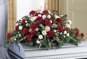 Your sincere wishes of Sympathy are conveyed using red and white blooms against a lush background of greens in this casket spray.