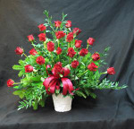 Red Freedom Eco roses and mixed foliage. Express your love and sympathy.
