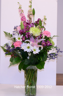 Mixed flower vase. Hatcher's uses the freshest flowers, local, Eco and imported to create your lovely gift.