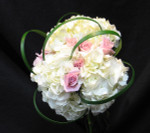 Bride's bouquet made with white Hydrangea, pink Esther roses and lily grass for accent. This is a hand tied bouquet that is so popular. The bridal party will look smashing with this bouquet. We have been delivering bridal flowers for ove 100 years in Toronto and area.