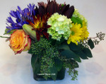 Fall cube arrangement. let Hatcher florist design and send one today. Toronto and area delivery. Great for a back to school surprise, Rosh Hashanah gift or a Thanksgiving centrepiece. Made fresh in our Toronto/North York flower shop.