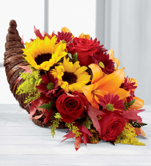 Cornucopia of mixed fresh flowers. Send a Thanksgiving gift to your family or friends. We deliver from our Toronto flower shop. Hatcher Florist since 1909.