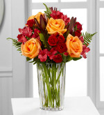 Many Thanks™ Bouquet by Vera Wang uses the rich colors of the autumn season to send your warmest wishes to friends and family with sophisticated style. Toronto, North York and area delivery. Orange roses are boldly set against red Peruvian lilies, red spray roses, and an assortment of lush greens to create a fantastic flower arrangement. Presented in a sparkling designer crystal vase, this mixed flower bouquet will make the perfect impression on their birthday, for Thanksgiving, or as a way to show how much your care.