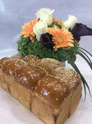 Floral Glass Cube Arrangement with Challah for the High Holiday
