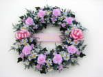 Artificial Pink Roses Wreath
