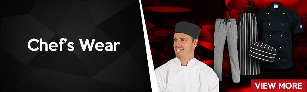Chef wear, kitchen wear. Hospitality Clothing. Restaurant apparel and kitchen garments.