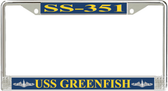 USS Greenfish SS-351 License Plate Frame