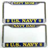 Navy Mom, Navy Dad Metal Tag Frames
