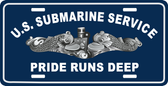 U.S. Submarine Service/Pride Runs Deep With Silver Dolphins Auto Tag