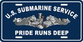 U.S. Submarine Service/Pride Runs Deep With Silver Dolphins Auto Tag
