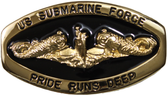 Officers Gold Oval Pride Runs Deep Black Belt Buckle