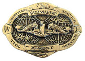 Submarine Service Globe Gold Belt Buckle
