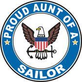 Proud Aunt of a Sailor U.S. Navy Round Decal