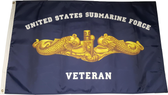 US Submarine Force Veteran Flag Gold Dolphins (3' x 5') - Made in the USA!